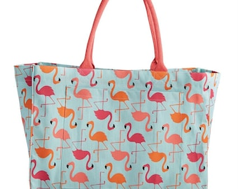 Flamingo Beach Bag, Monogrammed Large Utility Tote, Beach Bag, Personalized Beach Tote, Embroidered Beach Bag