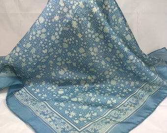 A Beautiful Vintage Jacqmar Semi Sheer Polyester Blue Floral Scarf. 27 x 27 Inches