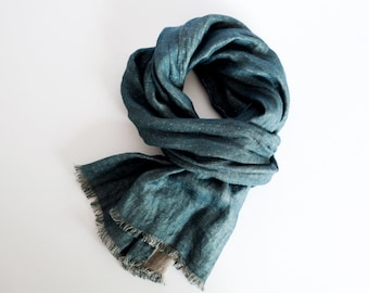 Teal blue linen scarf, gift for him, dating anniversary imagination, double sided scarf for men and woman, organic scarf, headwrap, headband