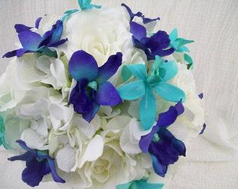 Silk Bridal Bouquet Blue Dendrobium Orchids Galaxy Orchids