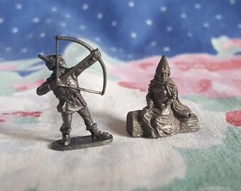 Miniature Renaissance Figurines Maid and Archer Pewter Figures XIV FS
