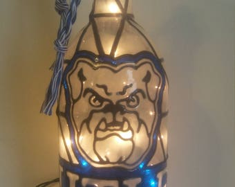 Butler University Inspired Wine Bottle Lamp Hand Painted Lighted Stained Glass Look