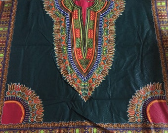 Green dashiki fabric, African fabric, African print, Ankara print, Dashiki print, dashiki dress, women clothing, SOLD per 2 YARDS!