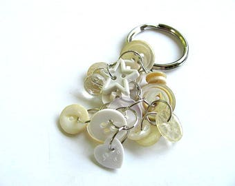 White Button Key Chain Ring FREE US Shipping