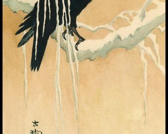 Japanese Art. Fine Art Reproduction. Blackbird in the Snow, c. 1860: Fine Art Print