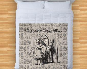 Alice In Wonderland Were All Mad Here Design Soft Fleece Blanket Cover Throw Over Sofa Bed Blanket