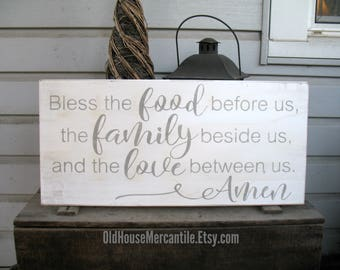 Bless the Food before us, the Family beside us, and the Love between us, Amen sign, wooden sign, farmhouse sign, framed sign, 10x24