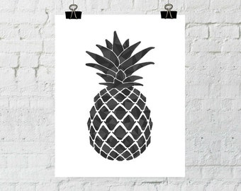 Black Pineapple, Pineapple Print, Pineapple Wall Art, Black Pineapple, Pineapple Art, Pineapple Decor, Psych Tv Show, Pineapple, Printable