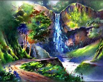 Latourell Falls - Watercolor & Acrylic Painting Print by Michael David Sorensen. Oregon Waterfall. Pacific Northwest. Green. Path. Gorge