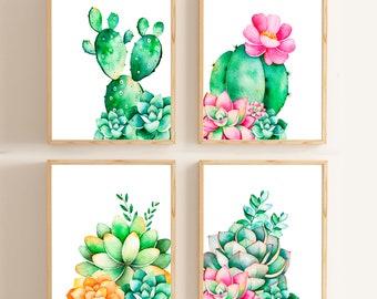 Cactus Print/ Cactus Decor/ Nursery Wall Art /Succulent Print Rustic Home Decor Watercolor Print Botanical Print Kitchen art Wall Art Prints