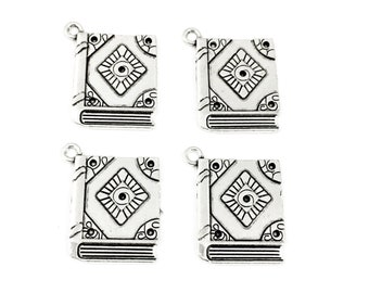 4 book charms silver tone 23mm  #CH 317
