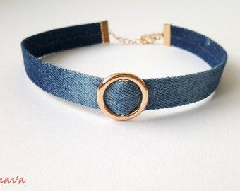 Choker collar necklace ring Denim Blue Gold