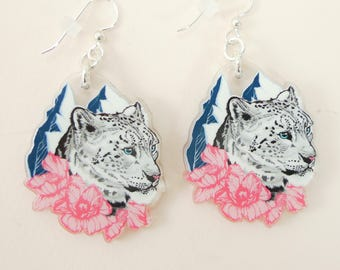 Snow Leopard jewelry, Snow Leopard gift, Snow Leopard earrings, cute earrings, animal jewelry, Snow Leopard, quirky jewelry, quirky gift