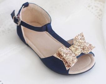 NAVY Satin T-strap Flats with Rock Glitter Bow - for flower girls, toddler girls shoes