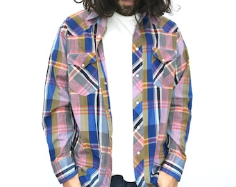 Vintage Plaid Wrangler Button Up
