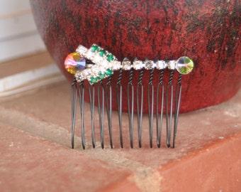 H12 Funky Rainbow Rivoli Tulip Flower Emerald Diamond Rhinestone Upcycled Vintage Hair Comb