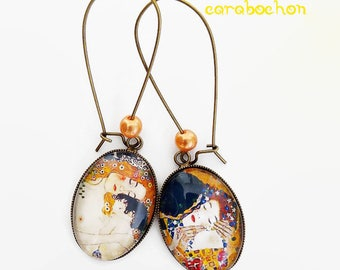 Earrings klimt, mother with child - the kiss of Gustav Klimt art painting picture maternity 3 ages of women, glass cabochon
