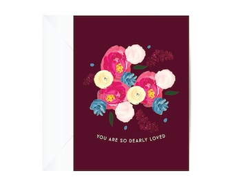 Pink Floral ENCOURAGEMENT Card, stationery, greeting card, paper goods, encouragement card