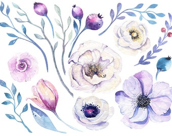 Watercolour Flowers Leaves 17 Clip Art Graphic Design PNG High Resolution N530