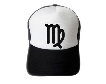 ZODIACA - Virgo Zodiac Sign Black Flock Print Trucker Hat, Mesh Caps- H1S109