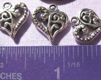 Sweet heart Charm Tibetan Silver jewelry supply 4 pieces