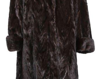 Vintage Brown Mink-Coat Real Fur Size 46