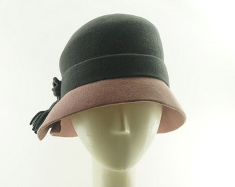Pink and Gray Cloche Hat, Vintage Hat Style, Cloches, Felt Hat Womens, Church Hat, Wedding Hat, Cloche Hats, Gift for Her, Ladies Hat