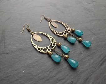 "long earrings ""lima"" agate and brass"