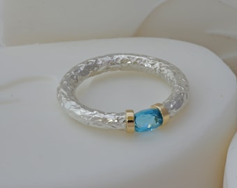 Hand Textured Swiss Blue Topaz Tension Ring