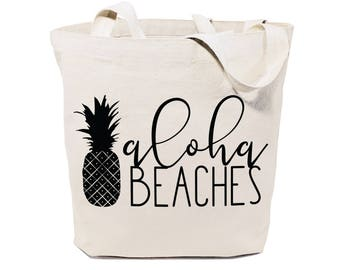 Aloha Beaches Cotton Canvas Beach, Shopping and Travel Reusable Shoulder Tote and Handbag, Gifts for Her, Farmers Market, Summer, Pineapple