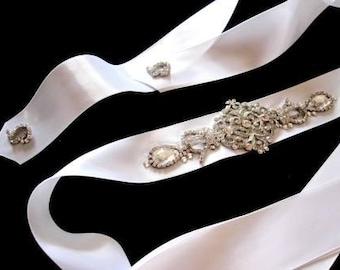 Mia Bridal Wedding Dress Rhinestone Crystal Embellished Belt Sash Vintage Wedding Art Deco