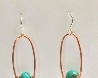 Copper Wire Wishbone with Turquoise Earrings