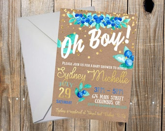 Jpeg invitation etsy beautiful watercolor blue and gold floral baby shower personalized invitation printable jpeg image stopboris Images