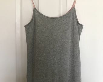 soft gray and pink tank