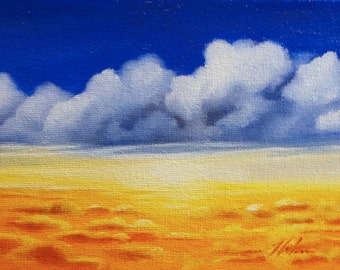 "Up Above the Clouds, original oil painting on canvas board, 5"" X 7"""