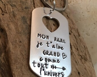 Hand Stamped Personalised French Message Keyring for Papa