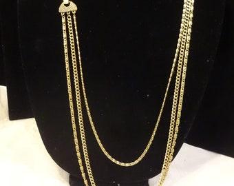 Vintage Goldette Triple Chain Necklace