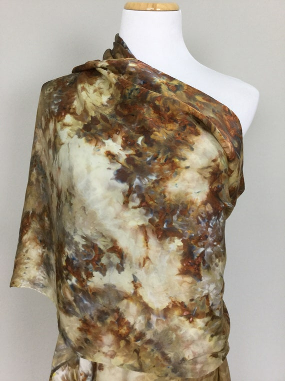 """NEW SIZE 100% Silk WRAP Ice Dyed in Creamy Latte Beautiful Browns for Fall Artistic Watercolor 22""""x90"""" Elegant Rectangle Wrap Oblong #224"""