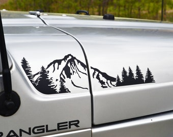 Jeep Wrangler TJ (1997-2006) Extended Hood with Mountain and Trees Decal 4pc Set
