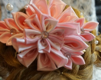 HANDMADE white and pink hair accessory