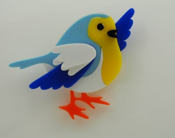 Womens jewellery,  laser cut acrylic pin blue tit bird brooch badge  perspex plastic accessory