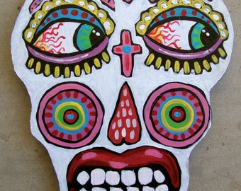 Original Whimsical Folk Art Sugar Skull