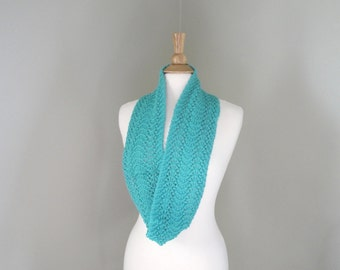 Hand Knit Infinity Scarf, Turquoise, Cotton Blend, Aqua Green, Sparkly Glitter Scarf, Cowl Loop Circle Eternity Scarf