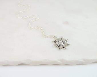 Sun Necklace, Silver Sun Necklace, Sun Jewelry, Sunshine Necklace, Necklaces for Women, Sun Charm Necklace, Sunshine Jewelry, Charm Necklace