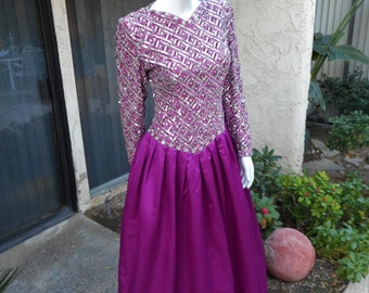 Vintage 1980's Victoria Royal Magenta Evening Gown - Size 10
