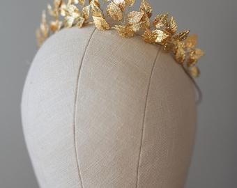 Greek Goddess Leaf Crown, Wedding Leaf Headband, Woodland, Leaf Branch, Wedding Tiara, Queen Wedding Headpiece, Gold Tiara-EFTHALIA