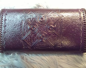 Celtic cross tooled leather clutch wallet
