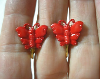 """Play Earring - Clip - Butterfly - Red - 3/4"""""""