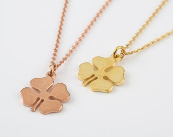 Four leaf necklace, Lucky charm necklace, Solid gold 4 leaf, Solid gold necklace, Good luck necklace, Good luck pendant