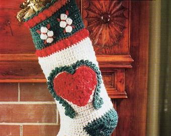 Christmas Stocking crochet pattern pdf crochet Christmas Stocking 15.5 inches DK light worsted pdf instant download
